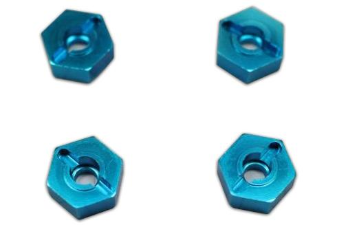 02134B Aluminum Wheel Hex Blue 4pcs