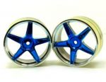 06008pb 2.2 Chrome front 5 spoke blue anodized wheels 2 pcs