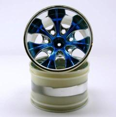 08008npb 2.8 Chrome 7 spoke blue anodized wheels 2 pcs