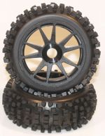 1/8 Buggy Pre Mounted Black Rims with Big Block Treads for 17mm Hubs